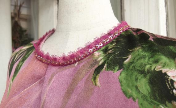 イタリアシルク フラワープリントドレス